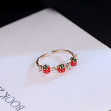 Red Strawberry Ring Women Small Fresh Playful Jewelry Decoration Gift SK
