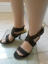 Women's FAITH Khaki Canvas Wooden Stiletto Strappy Sandals UK Size 3 / EU 36