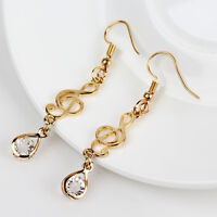 Ladies Jewelry Gold Color Clear Crystal Paved Music Note Opal Drop Earrings Gift