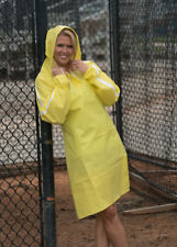 XXL All Weather Ware 1-Piece Hooded Rain Poncho in Yellow Waterproof Lightweight