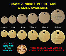 Nickel & Brass Pet ID (Identity) Tags & Split Ring, Engraved / Engraving Options