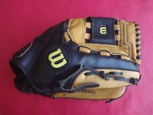 "Wilson A350 Baseball Softball Glove RHT 12.5"" Black Tan"