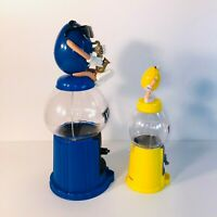 M&M Candy Dispenser 2018 Yellow & 2011 Blue Music No Candy Included Lot of 2 EUC