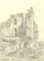 Mary Anne Baignis - c.1825 Graphite Drawing, Study of Castle Ruins