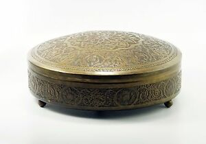 Vintage Ethnic Boho Indian Floral Brass Color Lidded Footed Round Trinket Box