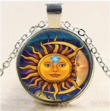 Sun & Moon & Star Face Glass Cabochon Tibet Silver Pendant Chain Necklace + Gift