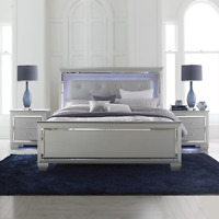 NEW Silver LED Light 3PC Queen or King Modern Bedroom Set - Bed & 2 Nightstands
