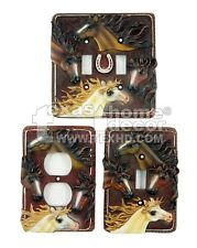 Rustic Western Country Horses Switch Plate Covers Single Outlet Toggle Brown
