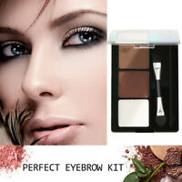 3Colors Womens Makeup Eyebrow Powder Palette Eye Shadow Kit With Brush Cosmetic