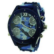 MENS ICED OUT BLUE CAMOUFLAGE BIG FACE CAPTAIN BLING HIP HOP BULLET BAND WATCH