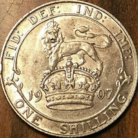 1907 UK GREAT BRITAIN EDWARD VII SILVER SHILLING - Fantastic lustrous example!