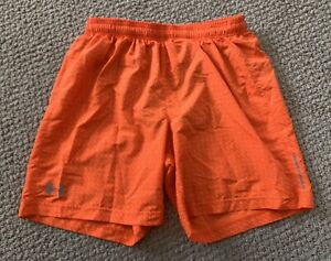 Mens Under Armour Heat Gear Orange Fitted Lined Running Shorts Size Medium