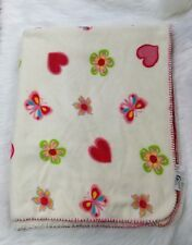 San Manuel Baby Blanket Large Cream Butterfly Flower Hearts Sherpa Thick B297