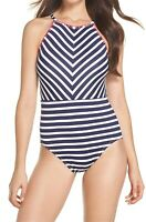 Tommy Bahama 166285 Womens One-Piece Striped Swimwear White/Blue Size 6