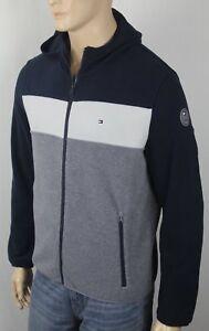 Tommy Hilfiger Navy White Grey Fleece Hoodie Full Zip Jacket NWT $160
