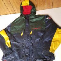 VTG Tommy Hilfiger Men XL Logo Spell Out Jacket Hood Zip Fleece Color Block Flag