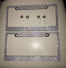 2X SWAROVSKI CRYSTAL Metal License Plate Frame W/Screw Caps Bling Diamond Cover