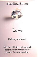 """LA ROCKS FOOTNOTES STERLING SILVER LOVE RING SIZE 7 WITH  """"FOLLOW YOUR HEART"""""""