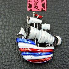 Women's Fashion White Enamel Ship Charm Betsey Johnson Brooch Pin  Gift