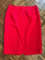 GEORGE GROSS Red Ribbed Pencil Zipper Skirt Size 12