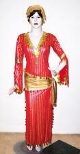 Egyptian Belly Dance Baladi Galabeya Women Dress Dancing Costume w/ Scarves Red