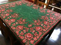 """Bold Green & Red Floral Vintage Linen 50x62"""" Tablecloth - READ (RF948)"""