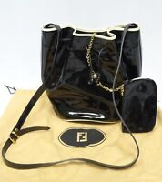 RARE VINTAGE FENDI BLACK PATENT LEATHER DRAWSTRING SHOULDER HANDBAG +SMALL PURSE