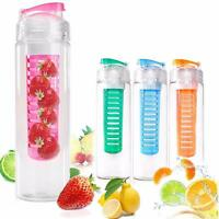 800ML Sports Fruit Infusing Infuser Water Lemon Juice Health Bottle Flip UK