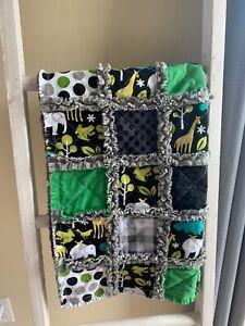 JUNGLE STORY / Baby Boyblanket/ rag quilt/ baby shower gift/Stroller