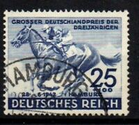 THIRD REICH Mi. #814 used Blaues Band Horse Race stamp! CV $18.00