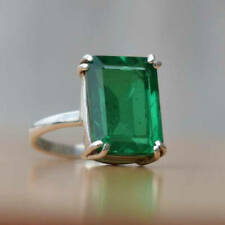 925 Sterling Silver Natural Colombian Emerald Octagun Ring Special Gift