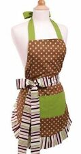 NEW Flirty Apron Women's 100% Cotton Cocoa Lime Brown Green One size