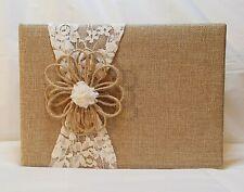 Rustic Burlap & Ivory Lace Wedding Guest Book By David Tutera