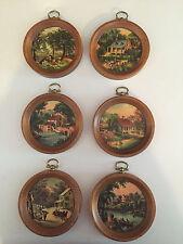 6 Vintage Miniature Round Landscape Prints in Wooden Frames