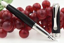 Davidoff Black Lacquer & Platinum Gilded Fountain Pen 18k Solid Gold M Nib 06283