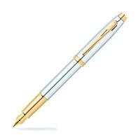 Sheaffer 100 Fountain Pen - Chrome with Gold Tone - Medium Point Nib - Gift Box