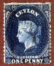 Ceylon 46a 1¢ Blue QV  Wtrmk Crown CC