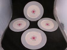 Miramar by Flintridge 4 Dinner Plates Gray Rim Pink Rose Platinum Trim 1952-72