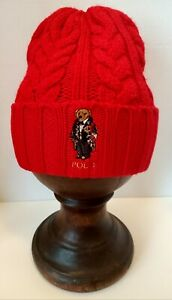Polo Ralph Lauren Men's Cable-Knit DUFFLE BEAR Beanie, Cold Weather Hat, Red