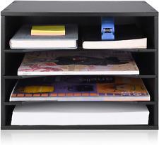 Emerit Wood Desktop Organizer Paper Storage Letter Tray File Sorter For Home Off
