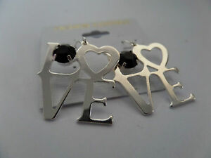 'LOVE' HEART SILVER COLOUR DROP DANGLY EARRINGS WORD BLACK STONE new in gift bag