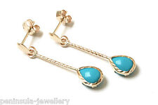 9ct Gold Turquoise Teardrop Long Drop Earrings Made in UK Gift Boxed