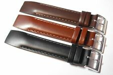 Open Ended Leather Smooth Grained Strap. Brown, Tan or Black 18mm, 20mm