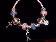 Breast Cancer AWARENESS European PINK & Blue Glass Bead HOPE Bracelet N-09
