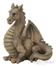 Vivid Arts - MINIATURE WORLD FAIRY GARDEN HOME ACCESSORIES - Grey Winged Dragon