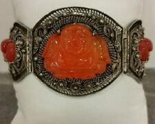Chinese Sterling Silver and Carved Carnelian Buddha Figures Bracelet