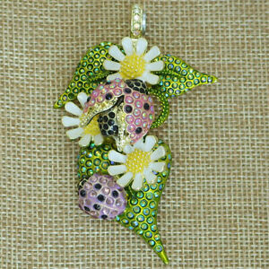 Kirks Folly Lovely Ladybug Magnetic Enhancer Goldtone Daisies & Sparkling Leaves