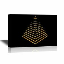 wall26 - Canvas Wall Art - Pyramid Structure in Gold - Ready to Hang - 12x18