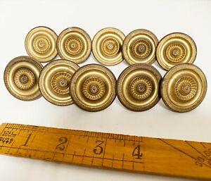 """Set of 10 Vintage Large 1.25"""" Ethan Allen Baumritter Drawer Knobs Pulls Brass"""