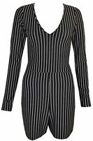 New Womens Ladies White & Black Striped Longsleeve Playsuit Size UK 6 8 10 12 14